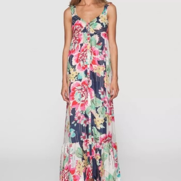 Johnny Was Dresses Floral Button Down 100 Silk Maxi Dress Poshmark